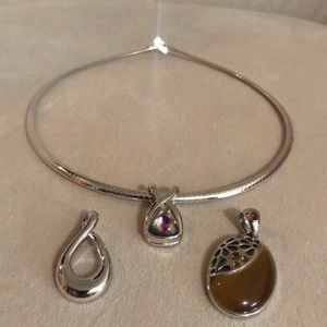 Lia Sophia Silver necklace with 3 enhancers